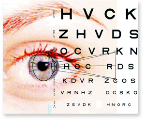 Eye with Eye Chart Letters